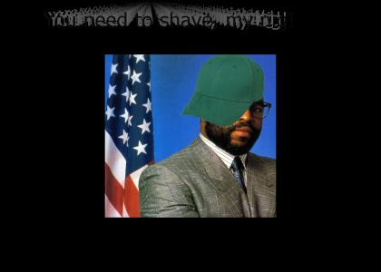 Nigga with tha green hat need to shave