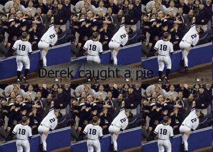 Derek Jeter caught a pie!