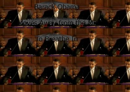 Barack Obama Moves Away from the Mic to Breathe In