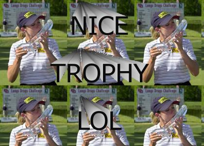 Cristie Kerr Kisses the LPGA Trophy