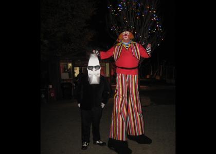Real Life Moon Man meets Goofy Clown Face