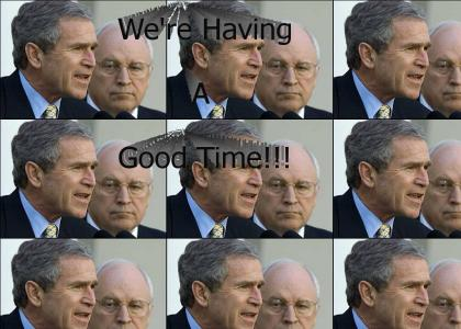 George W. Bush and  Dick Cheney having a good time!
