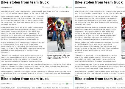 I wonder who stole Lance Armstrong's bike?