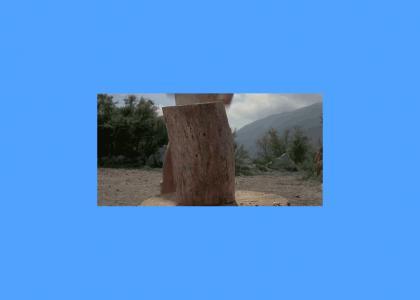 Arnold chops wood