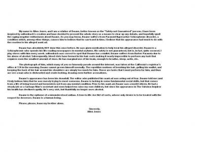 Letter About Safety Not Guaranteed Person