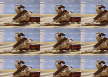 Gromit races flying penguin