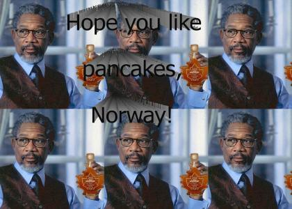 Morgan Freeman hopes Norway likes pancakes
