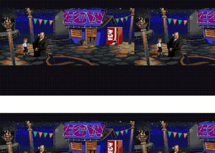 Paul-E tells Guybrush about ECW