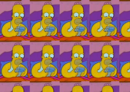 Homer Intensely Plays Game Boy