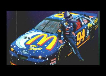 Moon man gets ready to beat you in nascar