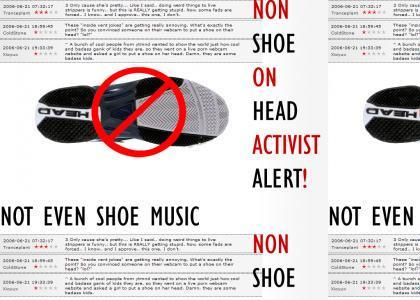 Activist Agasint Shoe on Head