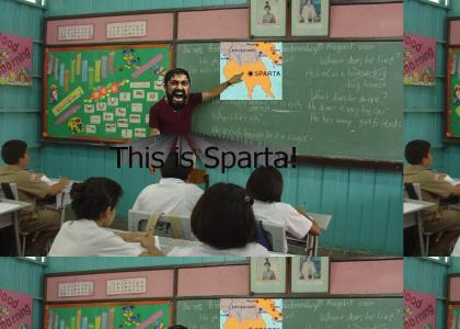 300TMND: King Leonidas teaches a Geography class.
