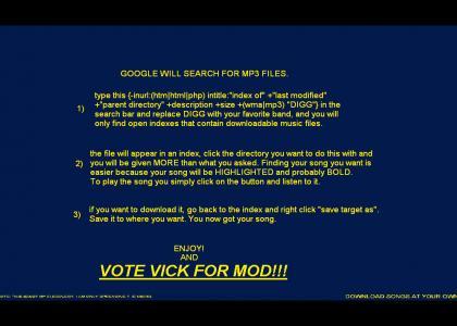 Google searches Mp3s! (VOTE VICK FOR MOD!)