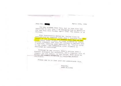 Real Letter from Teacher