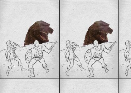 He-man sees Godzilla! OMG!