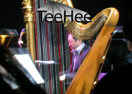 Koji Kondo is hiding behind a harp :D