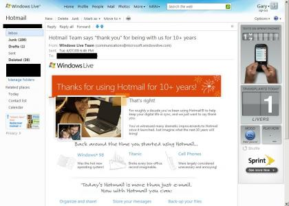10 years using Hotmail and all I got was this lousy email