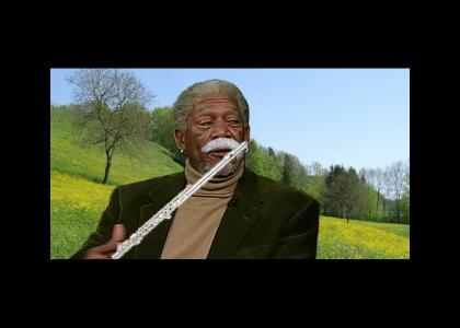 Morgan Freeman plays the flute with a fake mustache