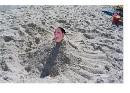 Fat Party Girl is Buried in Sand
