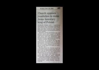 Poland Rejects Jesus