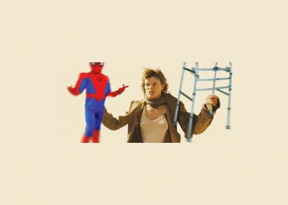 Milla Jovovich Twirls Crippled Spiderman  ---flashback----