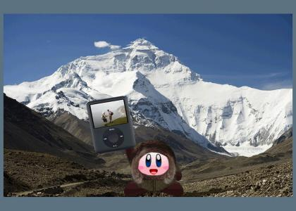 Kirby scales Mount Everest with his ipod