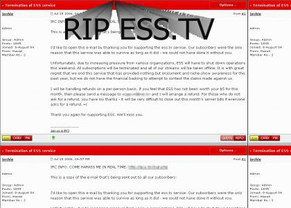ESS.TV shut down! Nooooo!
