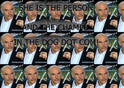 She is the person and the champú in the dog.com
