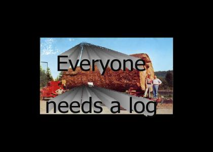whats great for a snack and fits on your back its log! log! log!
