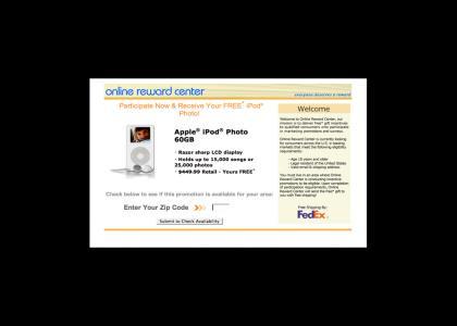 Win a free iPod ANYWHERE!1!!one!