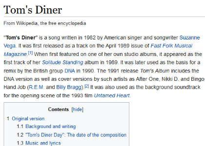 a cappella Tom's Diner