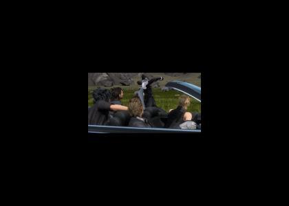 Sephiroth runs along FFXV car