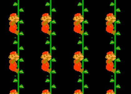 Mario climbs a vine