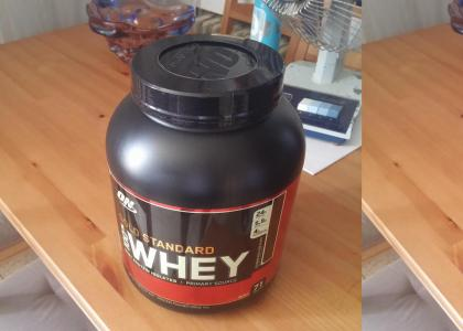 A jar of whey protein