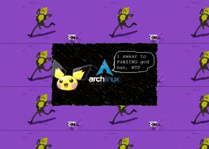 pichu installs arch linux as they fly around room bashing into things like a ballon let loose