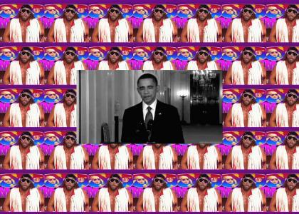 Barack Obama tries to get away but Randy Savage stops him.