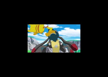 Lucario's having a wonderful time! ... Pikachu isn't.