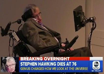 ABC news report of Stephen Hawking's death at 76 years old