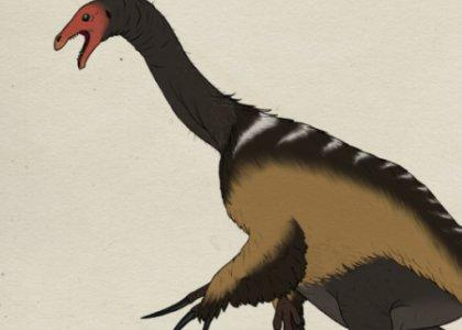 Therizinosaurus dinosaur profile with Moon Man